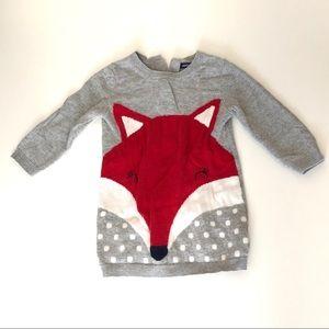Gap Baby Gray Red Fox Long Sleeve Dress 12-18 mos